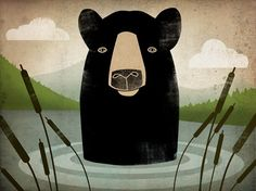 Black Bear Swim illustration 7x9 Giclee PRINT by nativevermont, $36.00