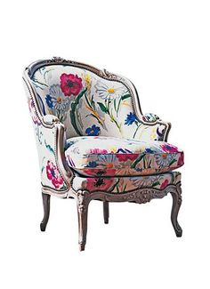 Bergere Chairs The fabric is just gorgeous on this French Bergere.IThe fabric is just gorgeous on this French Bergere. Funky Furniture, French Furniture, Furniture Design, Furniture Nyc, Chair Design, Plywood Furniture, Furniture Stores, Cheap Furniture, Discount Furniture