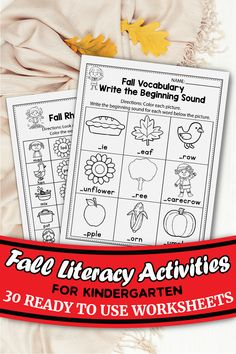 These Fall worksheets for kindergarten are the perfect printable for your classroom. These can be used with kindergarten and first grade kids. I used these activity worksheets during Halloween and Thanksgiving as well. My students practice kindergarten literacy and math, CVC words, kindergarten couting, number words and more using this freebie. You can use these in November and October to practice phonics for free.