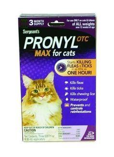 Sergeant's Pronyl OTC Max Cat Flea and Tick Sqz-On Flea Drops, 3 Count