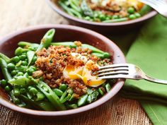 Spring Vegetable Salad With Poached Egg and Crispy Bread Crumbs