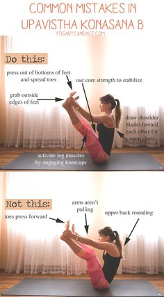 Pin now and practice later! Common mistakes in Upavistha Konasana.