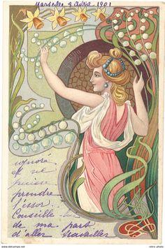 Illustrators & photographers - Cpa Illustrateur - Femme Art Nouveau
