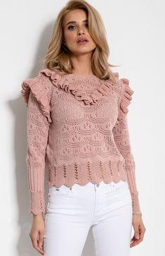 Fobya Sweterek z falbankami F908 pudrowy róż Spring Fashion, Jumper, Kimono, Sweaters For Women, Pullover, Wool, Elegant, Knitting, Lace