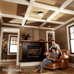 create an attractive beam and panel ceiling with just 2x4s and fiberboard. it's inexpensive, easy to assemble and looks like a classic beamed ceiling when painted.