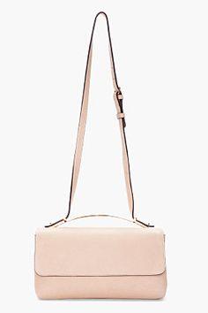 MARNI taupe Leather Brass Bar Shoulder Bag