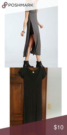 Dark grey double side slit maxi dress/shirt Grey high double slit maxi dress/ shirt Tops Tunics