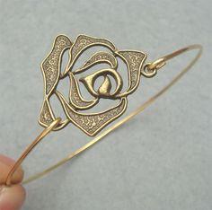 Flower Brass Bangle Bracelet Style 2