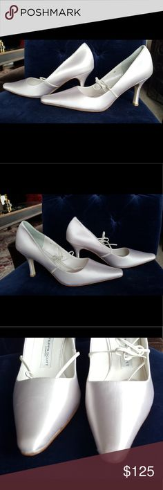 New in Box Filippa Scott Rosie White Wedding Pumps Never worn. Perfect Wedding Shoes! Gorgeous white satin Fillipa Scott shoes are  not only beautiful but extremely comfortable, so as not to ruin your special day with sore feet. They have a well padded footbed. All shoes should be made like this! I bought a few pairs just in case I needed to switch out but they were so comfy that I never did.  Check out my closet for other great stuff. I have a terrible shoe habit and it's time to cull the…
