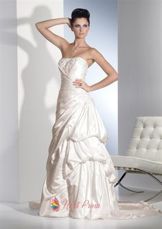Strapless Wedding Dresses With Long Trains,A Line Strapless Wedding Dresses,Strapless Wedding $310.00