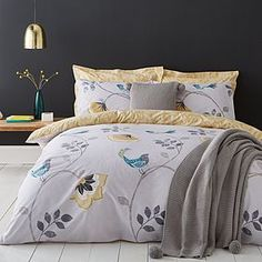 Stylish and contemporary duvet covers available from Dunelm. Our bed linen range includes a variety of colours and patterns, all made with high quality material and in every size, from single to king size duvet covers. Matching Bedding And Curtains, Grey Bedding, Linen Bedding, Bed Linens, Grey Pillows, Linen Pillows, White Cushions, Luxury Duvet Covers, Luxury Bedding Sets