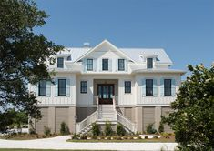 McCall's Landing - Coastal Home Plans Farmhouse style elevated house perfect fo. McCall's Landing – Coastal Home Plans Farmhouse style elevated house perfect for your coastal, Coastal House Plans, Beach House Plans, Cottage House Plans, Craftsman House Plans, New House Plans, Coastal Homes, Beach House Decor, Beach Homes, Coastal Bedrooms