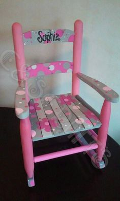 Hand Painted Child Sized Rocking Chair. Michigan based. We are artists that will gladly do custom work for you!! I can do a custom sketch, colors and work with you on your design ideas. Items can be created start to finish in 7-10 days. Please contact me on my facebook page for more information. www.facebook.com/cscraftsmi