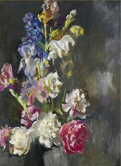 The Athenaeum - Still Life Study of Peonies and Iris (Edmund Tarbell - )