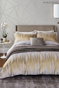 Buy Harlequin Motion Gold Ikat Cotton Duvet Cover from the Next UK online shop Gold Bedding Sets, Big Beds, Cotton Duvet, Bed Spreads, Ikat, Luxury Bedding, Bed Sheets, Master Bedroom, Girls Bedroom