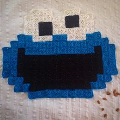 Cookie Monster granny crochet blanket by Atomic Bits