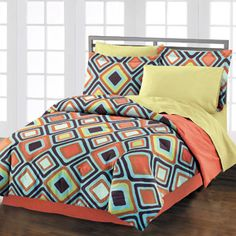 Style Lounge Diamond Comforter Set, Orange/Multi - Possible play room/guest room bedding?  Gender neutral / bright & fun / not too childish.