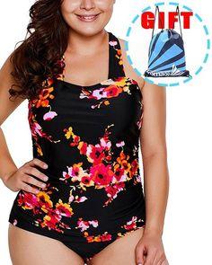 3a87933b386bd Women's One Piece Swimsuits Plus Size Monokinis Swimwear Athletic Tankini -  G-black Floral Print - C01809ILYYN