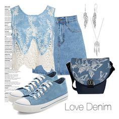"""""""Love Denim"""" by fallforit ❤ liked on Polyvore featuring Lucky Brand, Sans Souci and New Look"""