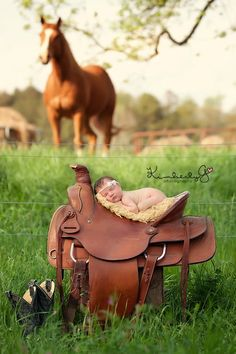 This is the cutest baby picture ever. Have to see if the baby will fit safely in an English saddle :-)
