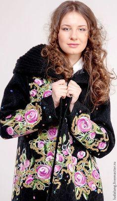 """Купить Полупальто """"Конфетти"""" - чёрный, демисезонное пальто, Весеннее пальто, валяное пальто, пальто с капюшоном"""
