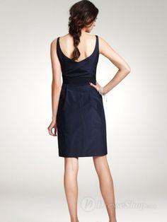 A-line V-neck Black Taffeta Belt Knee-length dress
