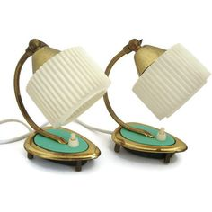 Mid Century Modern pair bedside table lamp, desk lamp set of 2 ($135) ❤ liked on Polyvore featuring home, lighting and table lamps