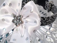 Glamour Girl Dog Collar with Rhinestone Center Satin Bow, Choose Your Size $16.50