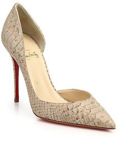 Christian Louboutin Iriza Snake-Embossed Leather D'Orsay Pumps