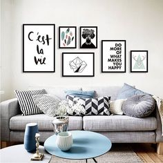 Nordic Simple Dandelion Black and white deer decoration oil paintings art canvas wall picture for living room Porch home decor