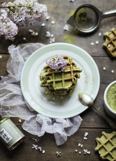 Matcha Green Tea Waffles 4 oz cream cheese, half scoop of whatever protein powder, 1 egg, 1 tsp baking powder, and 1-2 teaspoons of matcha green tea powder. If the batter is too thick I'll add egg whites or another egg. If it comes out too dry, I'll add a half tablespoon of coconut oil.