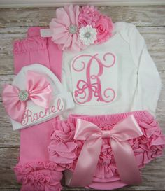 Baby girl coming home outfit, baby girl, outfit, set, newborn, baby girl clothes, hat, take home outfit, monogram, embroidered, mint, Pink