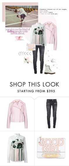 """""""No Regrets"""" by lydiarts ❤ liked on Polyvore featuring Love Quotes Scarves, Ted Baker, Balmain, Christopher Kane, Moschino and Dr. Martens"""