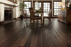 Handscraped hardwood floors have a natural worn appearance crafted by hand.  #5thWaLL