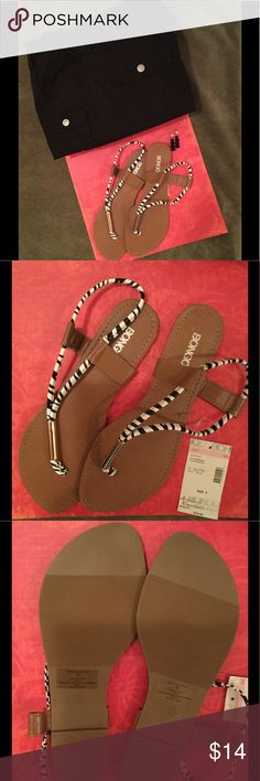 Zebra print Sandals Zebra print thong sandals by Bongo NWT. Never worn. When you purchase this item you will be purchasing a bundle. You will get a pair of black capris size 8 and a pair of black earrings.😘 BONGO Shoes Sandals