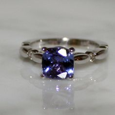 14K White Gold, Natural, Tanzanite and Diamond Accent Engagement Ring, Free Ship/Appraisal Included This is absolutely gorgeous. I love everything about this ring!