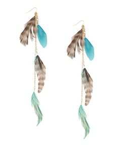 Tiered Bohemian Feather Earrings  $4.80  1000038891  Teal/Brown