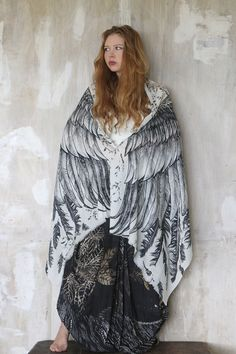 Scarves – Wings scarf, bohemian bird feathers shawl in White – a unique product by Roza-Khamitova on DaWanda White Scarves, Silk Scarves, Feather Scarf, Cotton Scarf, Boho, Scarf Styles, Mother Gifts, Womens Scarves, Dress Up