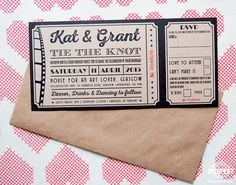Vintage Movie / Cinema Themed Wedding Stationery - When Kat & Grant got in touch looking for wedding stationery for their wedding they knew exactly the theme they were going for which vintage cinema and movies. After seeing a few vintage ticket wedding invitations we had designed Kat asked could we design her a vintage