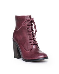 wine leather lace up bootie