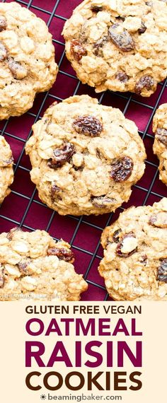 Easy Gluten Free Vegan Oatmeal Raisin Cookies (V, GF, DF): an easy recipe for soft and chewy oatmeal cookies bursting with juicy raisins. #Vegan #GlutenFree #DairyFree #OatFlour | BeamingBaker.com
