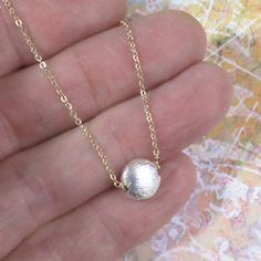 Tiny Sterling Silver Moon Necklace Coin Gold Chain by DJStrang
