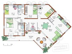 Plan maison 4 chambres | Planos de casas con 4 dormitorios ...