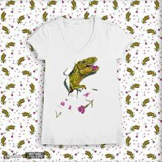 She Rex/Wrecks still life with Petals on Threadless T Rex Shirt, Dinosaur Illustration, Boring Day, Dinosaur Shirt, Kids Playing, Still Life, Hand Painted, Mens Tops, Design