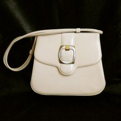 Vintage Tan White Kelly Style Shoulder Handbag Mad Man by chriscre