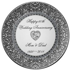 """Diamond Wedding Anniversary Porcelain Plate - A Digitalbcon Images Design featuring a platinum silver, black and diamond color theme with a variety of custom images, shapes, patterns, styles and fonts in this one-of-a-kind """"Diamond Wedding Anniversary"""" Porcelain Plate. This exquisite design makes an attractive and elegant gift for the Anniversary couple as an individual gift or as a complete dinner set. This beautiful plate is part of """"The Anniversary Collection"""" and makes a great memento to…"""