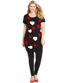Extra Touch Plus Size Heart-Print Tunic Sweater
