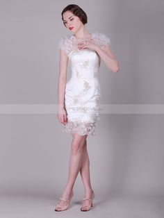 Cap Sleeve Tulle over Satin Sheath Short Wedding Dress 0114500