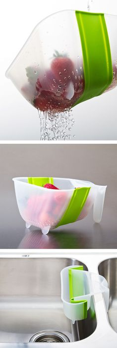 Collapsible over-sink collander // great idea!