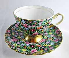 "Vintage Tuscan ""Mille Fleurs"" Chintz Tea Cup & Saucer - Fine Bone China England"